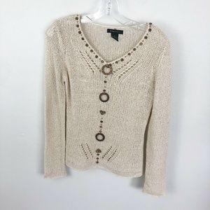 BCBG Max Azria Crotchet Sweater Tan Beaded V Neck